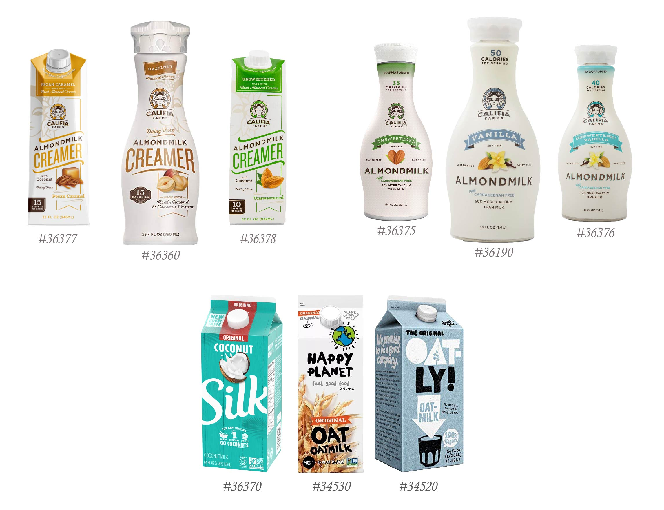 Plant-based milk alternatives such as Califia, Oatly, Silk, and Happy Planet.